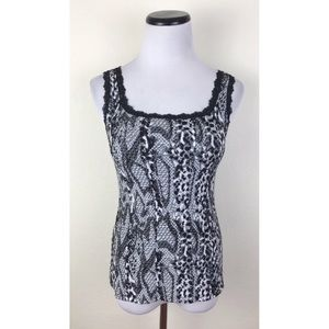 WHBM Printed Lace Stretch Tank Top